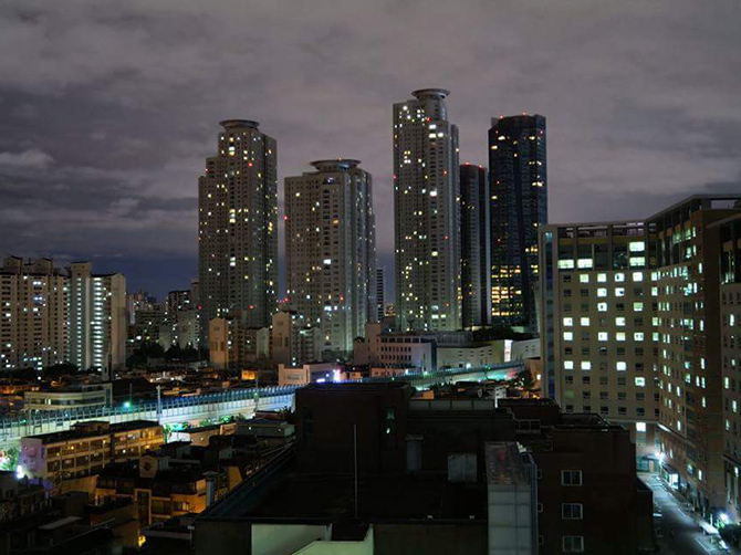 Université de Konkuk, de nuit, Seoul.